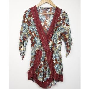 Love Culture | Boho Red Lace Print Romper Medium
